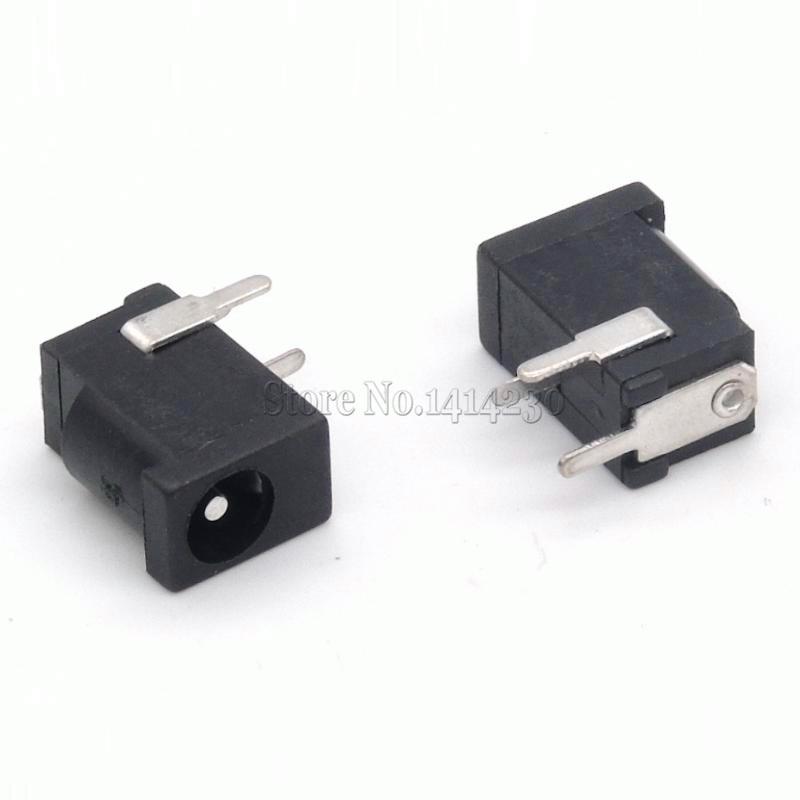 10Pcs Hot Sales High Quality DC-002 0.3A 50V Black DC Power Jack Socket Connector DC002 3.5*1.1mm 1.1 socket