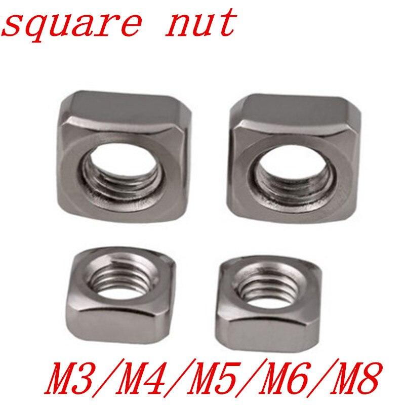 50 шт./лот DIN557 m3 m4 m5 m6 m8 квадратные гайки из нержавеющей стали