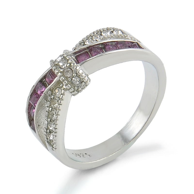 Purple rhinestone cross ring female silver crystal anelli for Wedding engagement rings for women