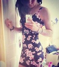 EAST KNITTING 2015 New Summer Women Digital Print Cherry Blossom Black Dress Sexy Tank Dress