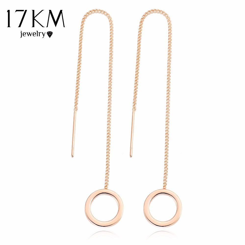 17KM Silver Long Tassel Earrings for Women Drop Jewelry