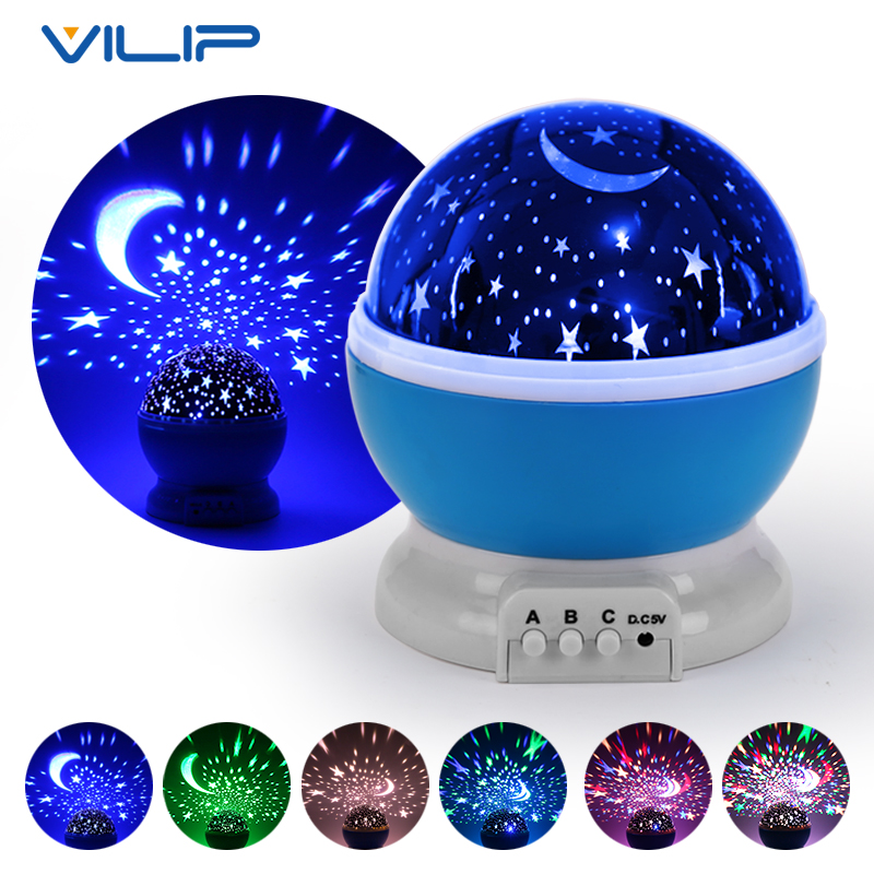 Vilip LED Starry Sky Projector Night Light Rotating Star Moon Sky Projector Night Lamp Kids children Gift Toy Bedroom Lighting iminovo night light with music starry sky led mini star projector lamps battery powered for lovers children creative gift
