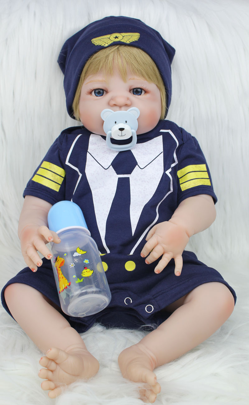 55cm Full Body Silicone Reborn Baby Doll Toy Lifelike 22inch Newborn Bebe Boy Babies Doll Birthday Present Gift Child Bathe Toy 55cm full silicone body reborn baby boy doll toys lifelike 22inch newborn babies toddler dolls birthday present bathe toy girls
