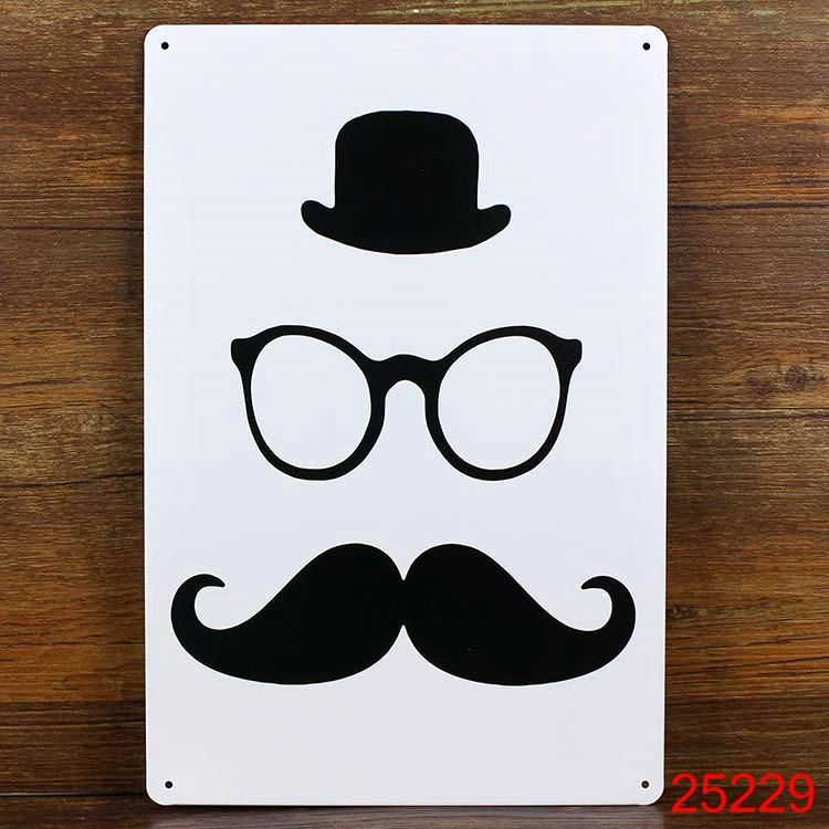 ⑥Sombrero Gafas barba pared placa decor pub Casa de pintura de ...