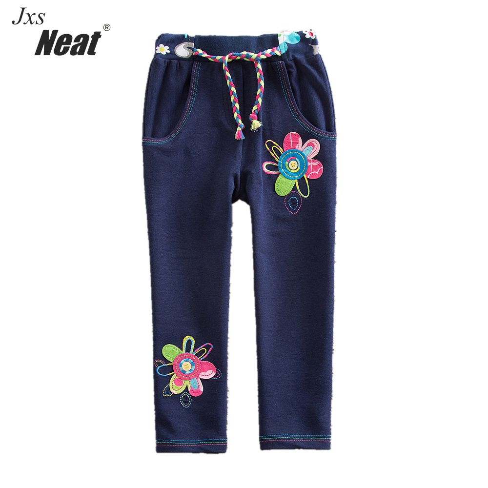 Baby girl pants 2017 neat brand girl's straight tube color line with pocket flower pattern straight tube cotton girl pants  K720