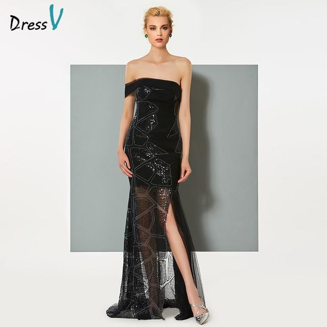 739648c03945 Dressv nero split-front abito da sera lungo elegante senza spalline sweep  treno del fodero