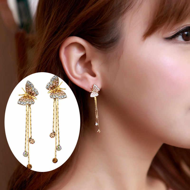 Neoglory Butterfly Long Tassel Dangle Drop Earrings Bridesmaid Teen Girl 2018 New Bday Birthstone Gifts Fashion Jewelry JS6