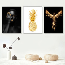 Gold Yellow Figure Painting Wall Art Canvas Pineapple Nordic Poster Bird Pictures For Living Room Unframed