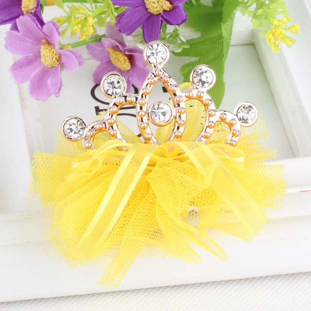 New Style Hot Sale Girls Shiny Rhinestone Crown Shaped Hair Clip With Ribbon Children Accessories Protective Cute Hair clip