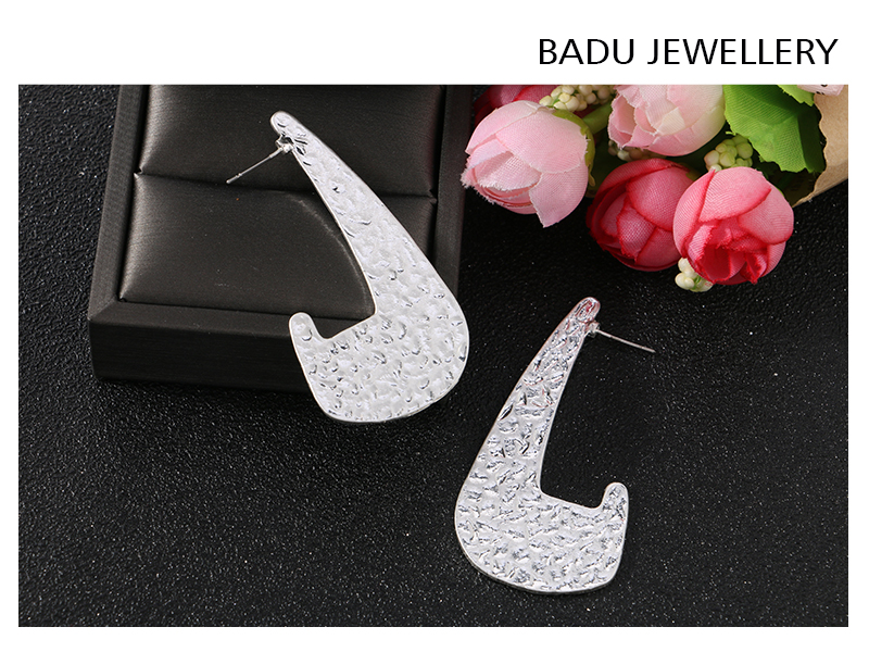 HTB18mhaaDjxK1Rjy0Fnq6yBaFXaz - Badu Vintage Big Metal Earring Frosted Gold Dangle Earrigns for Women Punk Style Fashion Jewelry