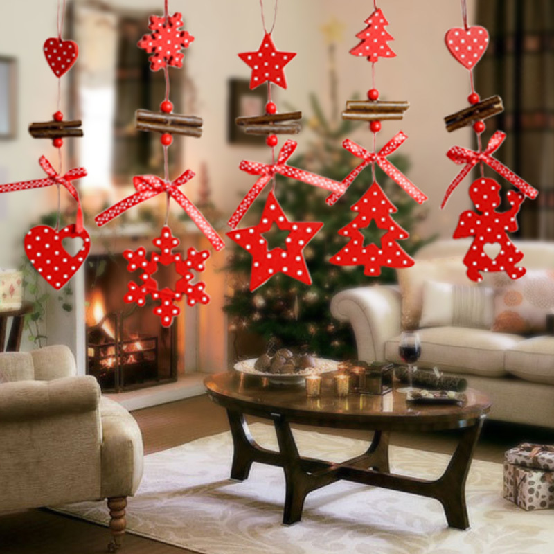 1pc White Dot Red Christmas Tree Hanging Pendant X mas Wood Wall Hanging Christmas Party DIY Decoration Ornament