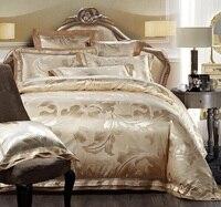top grade high quality luxury silk cotton jacquard hotel bed sheet set bedclothes duvet quilt cover set bedding set