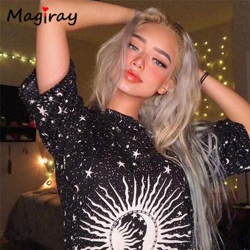Magiray Magic Star Moon Print T Shirt Women Streetwear Oversize Tumblr Loose Top Female Hip Hop Hippy Plus Size Long Tshirt C19
