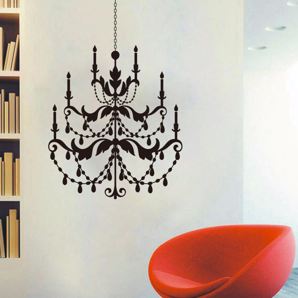 Europe chandelier wall sticker bedroom living room ceiling europe chandelier wall sticker bedroom living room ceiling chandelier lantern light lamp birds decal coffee vinyl home decor art in wall stickers from home arubaitofo Gallery