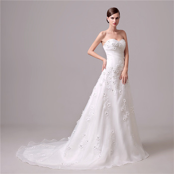 A-line Bridal Gown Sweetheart Neckline Applique Wide Hemline Wedding Dresses damit Pangkasal