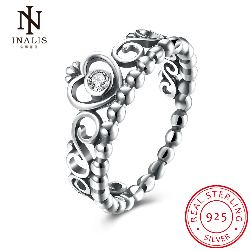 INALIS 925 Sterling Silver My Princess Anel de Noivado com Crown Crown Clear CZ Authentic Sterling-Silver-Jóias