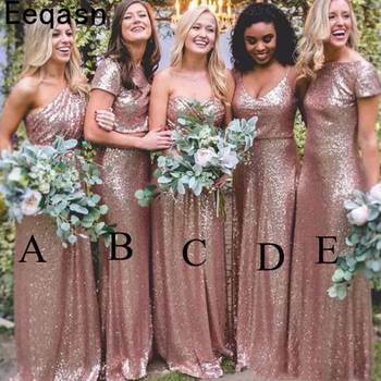 Sparkly Rose Gold Bridesmaid Dress 2020 Cheap Long Mermaid Custom Sequined Wedding Guest Dress Formal Party Plus Size