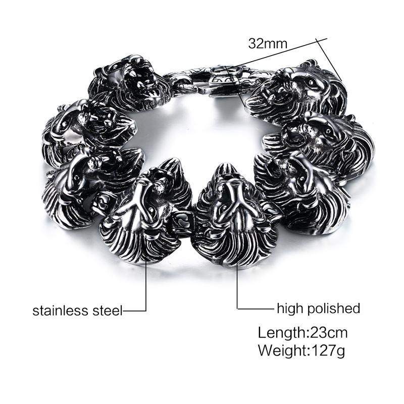 Vnox 9 pouces Lion Punk Bracelets pour hommes hip-hop Bracelets et Bracelets pour hommes Top qualité en acier inoxydable - 6