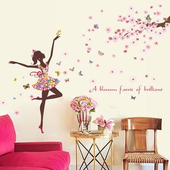 цена на Flower Fairy Wall Stickers Butterflies bedroom Girls Rooms home decoration Art Decals 3D Wallpaper sticker adesivo de parede