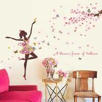 Pegatinas de pared de hadas de flores mariposas dormitorio niñas habitaciones decoración del hogar calcomanías de arte 3D papel pintado pegatina adesivo de parede