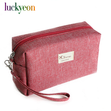 Fashion Solid Canvas Cosmetic Bag Makeup Pouch Tote Waterproof Organizer Beauty Travel Bag Portable