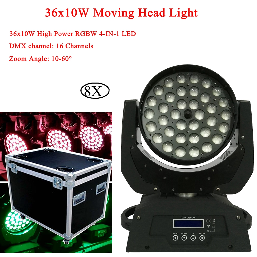 8Pcs/Lot 36x10W RGBW 4IN1 Zoom Wash Moving Head Light DMX512 LED Moving Head Stage Lights Sound And Professional Lighting8Pcs/Lot 36x10W RGBW 4IN1 Zoom Wash Moving Head Light DMX512 LED Moving Head Stage Lights Sound And Professional Lighting