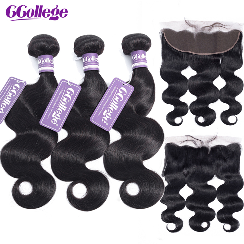CCollege 13x4 Lace Frontal Closure With Bundles Brazilian Body Wave Human Hair 3 Bundles With Lace