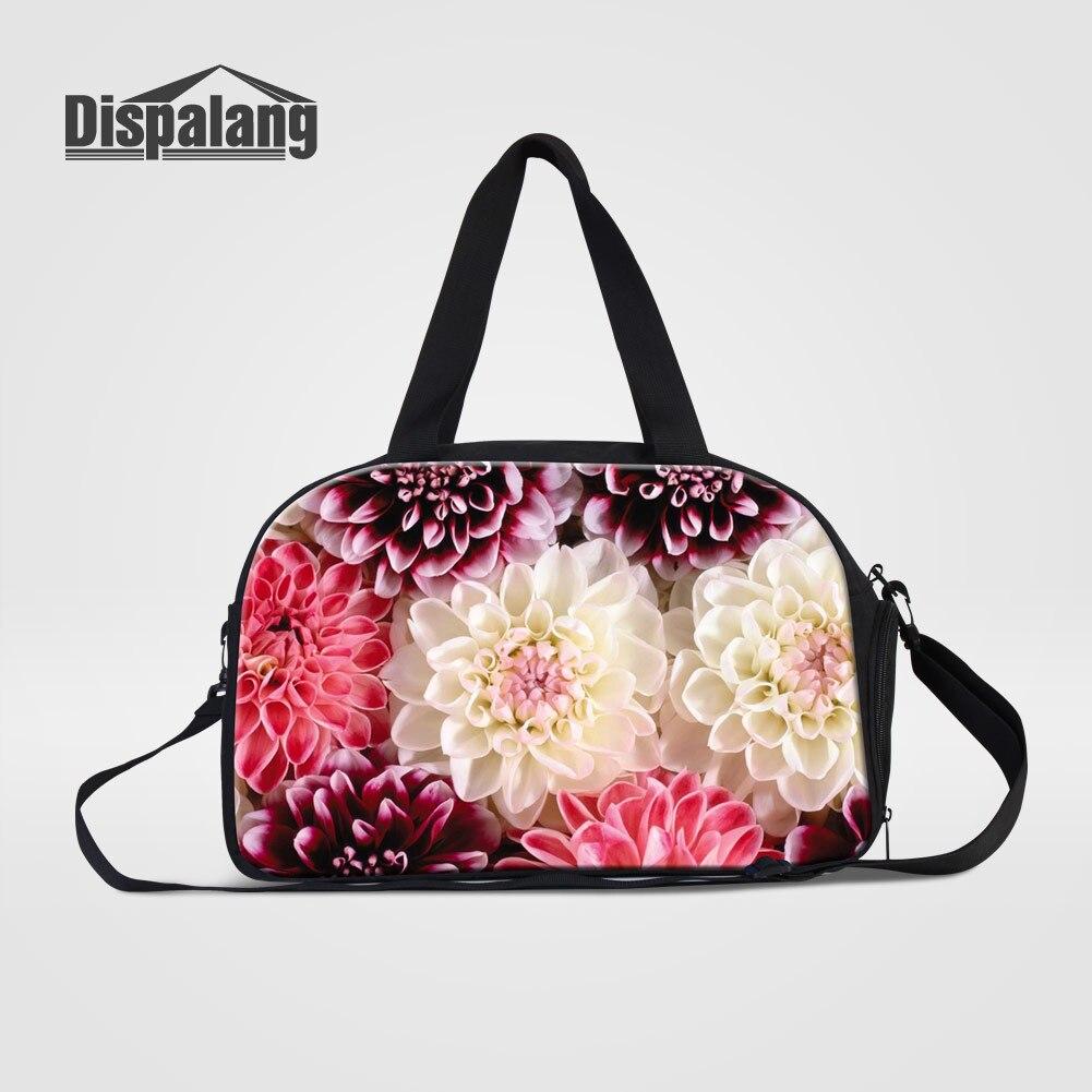Dispalang Flower Printing Portable Womens Travel Duffle Bags With Shoes Pocket Floral Girl Messenger Shoulder Bag For Traveling