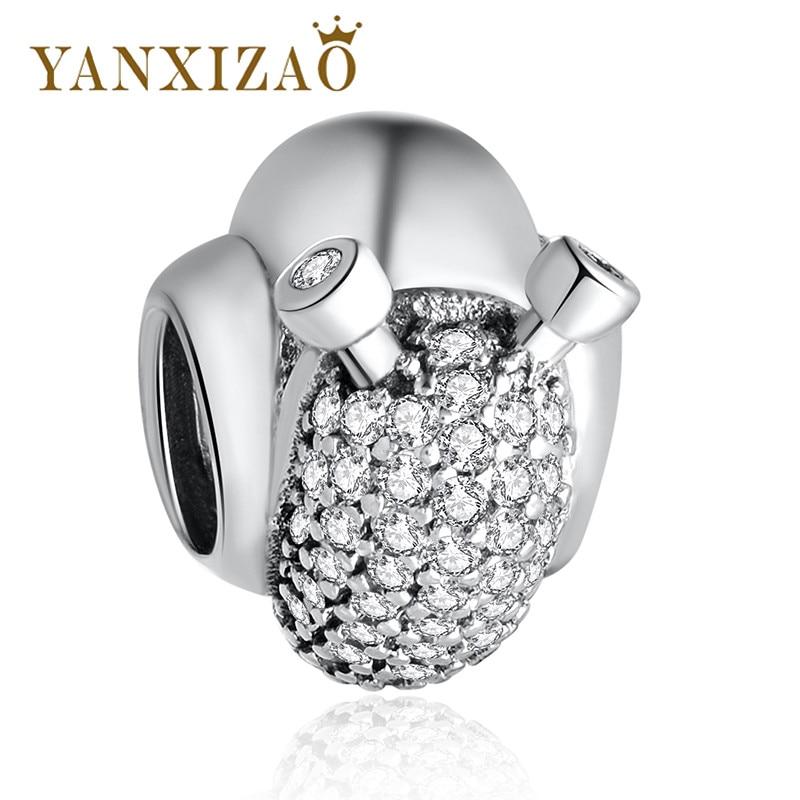 Yanxizao Snails Silver Charm Beads Fit Pandora Charms S925 Silver Original Bracelet Pendant DIY Jewelry Making Pendentif Gw511