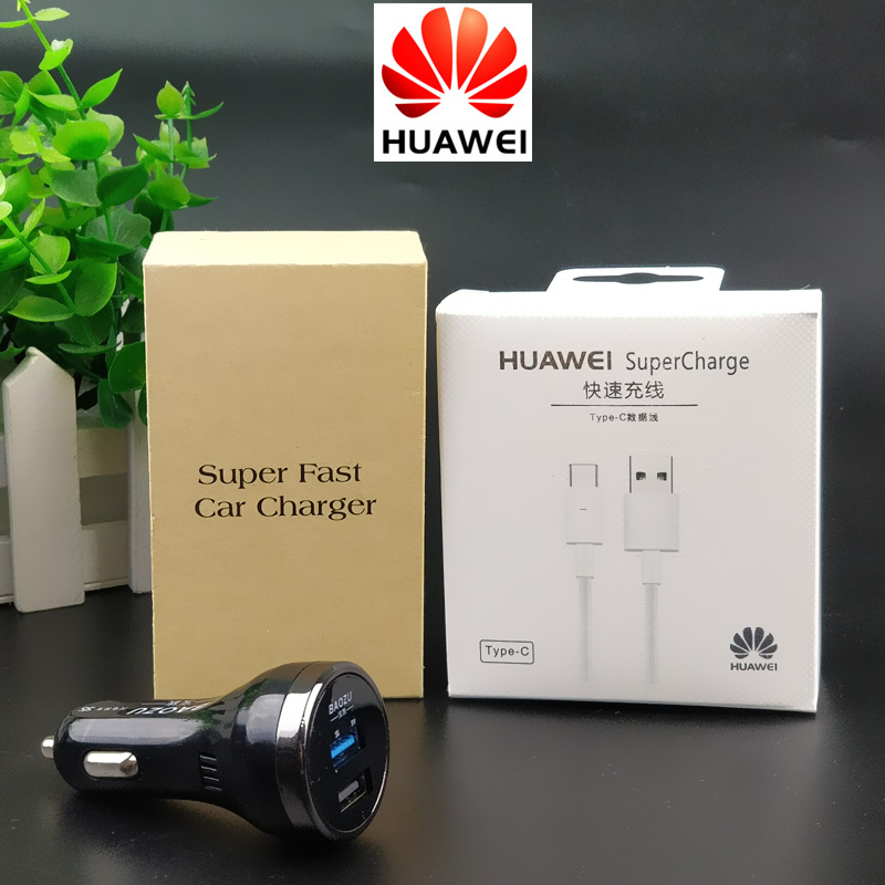 Original HUAWEI Car Charger Dual Usb SuperCharge Fast Charge Car Charger For P10 Mate 9 10 Pro Smartphone 5A Type C Cable