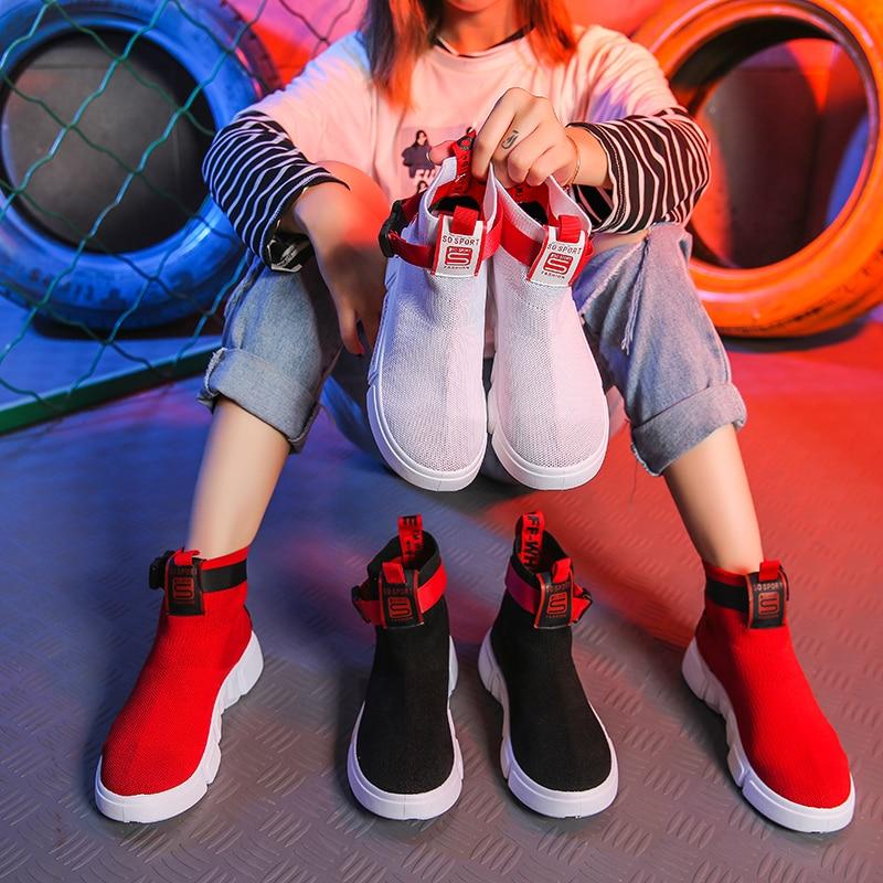 Casual Tissu Flexible Cheville Sports Plein Femmes blanc Air Femme Fond Respirant Bottes Pour De Chaussette Sneaker Chaussettes Noir Chaussures Mou rouge Extensible wTqg4Owx