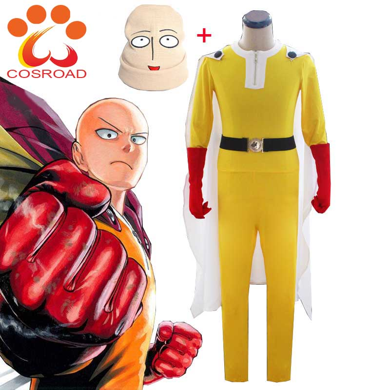 Cosroad One Punch Man Cosplay Costumes Saitama Jumosuits Cloak Belt Hat Gloves Full Set for Halloween