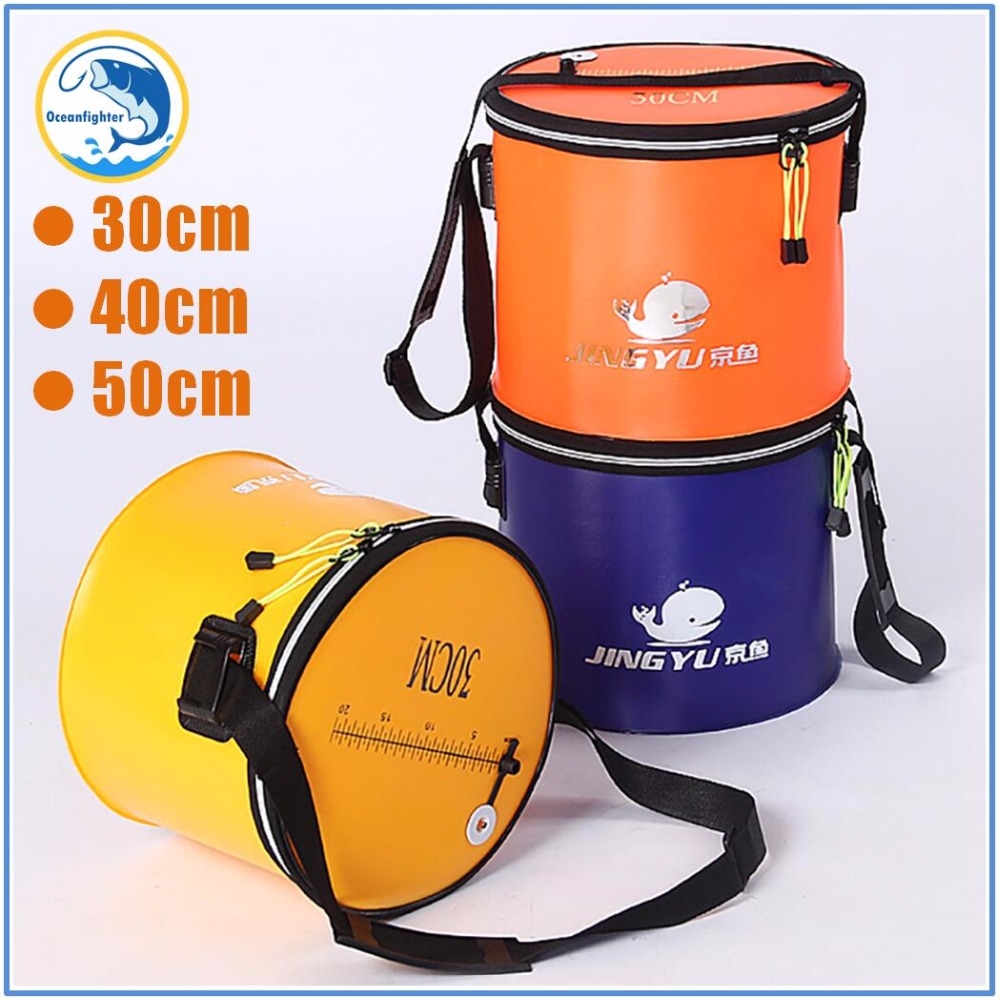 Heavy Duty Quality Foldable Fishing Bucket with Shoulder Strap 3 Size Lightweight Canvas Bucket Portable Camping Fishing