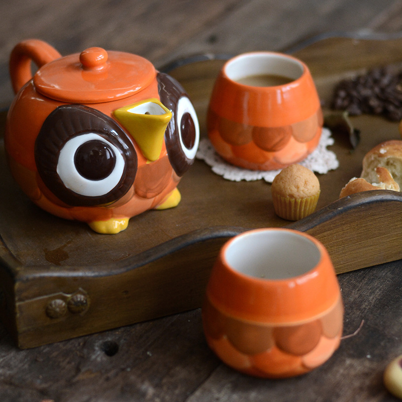 Kitchen Kettle Village Coupons: Creative Owl Tableware Hand Painted Ceramic Tea Set Gift