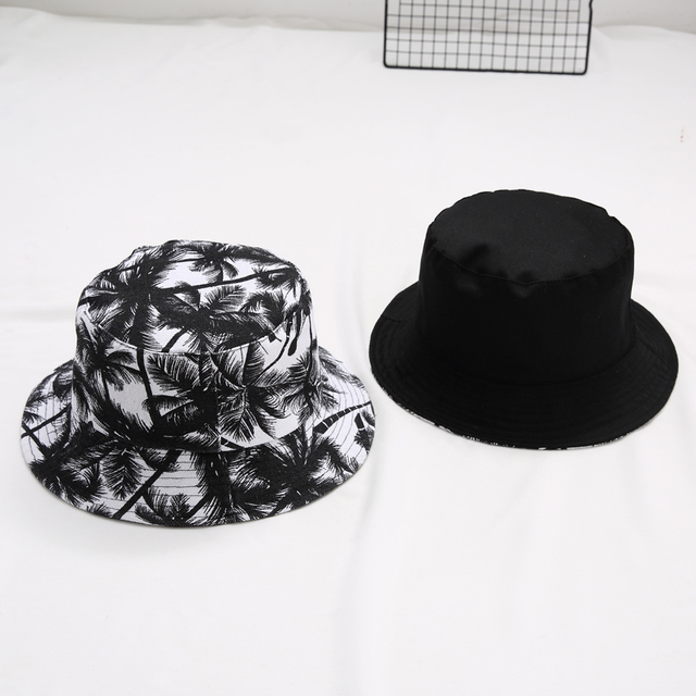Hot selling new style Fashion K POP double side wear flower print Bucket  Hats popular style cap couples cap for summer bb8f22f2326