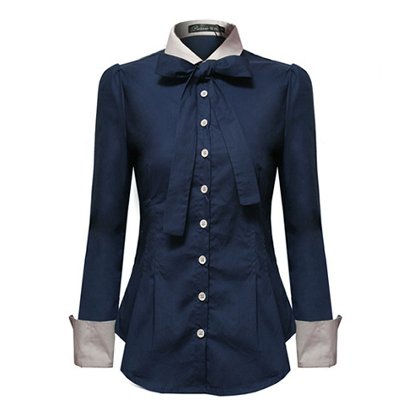 Korean Tops Women Shirts Office Lady Slim Plus Size Chiffon Blouses Casual Lapel Long Sleeve Blusa Patchwork Spring Blouse 5XL