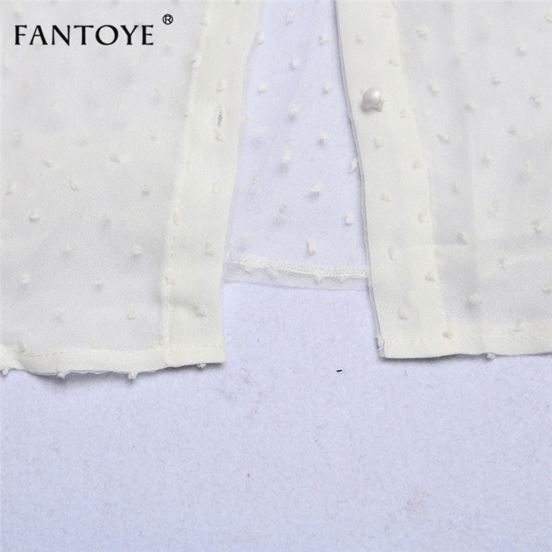 Fantoye 19 Summer Women Chiffon Blouse Shirt Sexy Transparent Mesh Beading Puff Sleeve Female office Shirts Lady Blusa Outfits 14