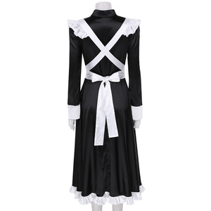 Image 4 - Sexy Adult Woman French Maid Servant Cosplay Costume Black&White Maid Costume Halloween Party Long Dress  + Apron + Headpiece