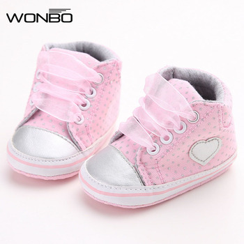 Wonbo Autumn Lace-Up First Walkers Sneakers Shoes Classic Casual Baby Shoes Toddler Newborn Baby Girls Polka Dots Shoes