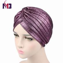 Luxury New Women Turban Headband Donna Bonnet Cap Soft Breathable Mesh Shiny Hijab Beanie Hat Turbante for