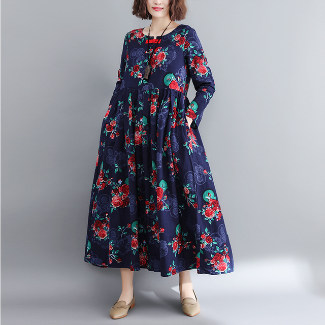 0ac385df6376d US $22.66 40% OFF|Ethnic Style Plus Size Women Maxi Long Dress Red Blue  Floral Print Vintage Female Clothes Elegant Cotton Linen Classical Dress-in  ...