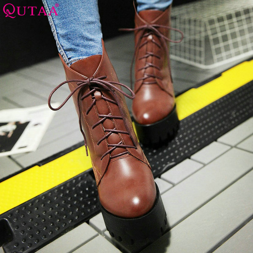 ФОТО QUTAA Classic Brown Women Shoes PU leather Square High Heel Ankle Boots Round Toe Lace Up Women Motorcycle Boots Size 34-42