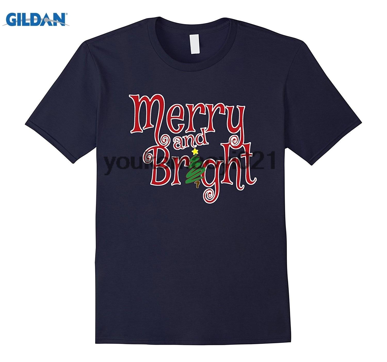GILDAN Christmas Merry and Bright T-Shirt Cute Xmas Shopping Tee
