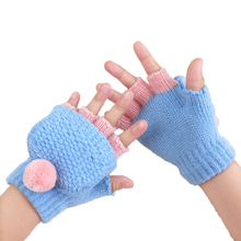 Baby Girls Gloves Winter Children Cartoon Warm Thicken Wool Golves Warm Gloves Half Finger gloves Soft Comfortable Mittens kids