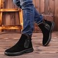 Hombres libres del Envío de Cuero Genuino Botas de Nieve de Moda de Invierno Zapatos Casuales Cremallera Zapatos de Invierno con Forro de Felpa Tamaño 39 ~ 44