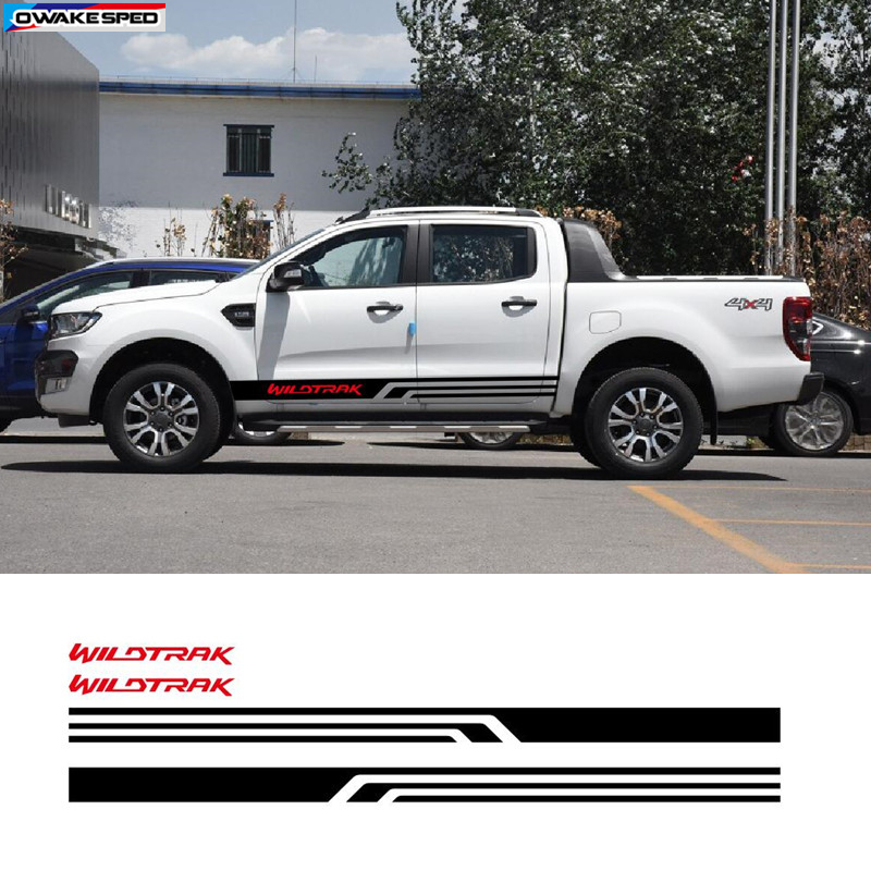 Car Styling Door Side Skirt Stripes For Ford Ranger Wildtrak Graphics Body Customized Decal Auto