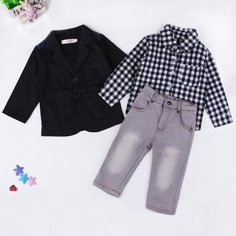 gentleman boy clothes clothing 2017 spring child clothing set boys cool black coat+Plaid Shirt +Jeans suit  three piece suits gentleman baby boy clothes black coat striped rompers clothing set button necktie suit newborn wedding suits cl0008
