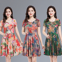 2019 new womens crystal hemp stretch loose dress woman short-sleeved summer fashion solid color Knee- plus size S-4XL