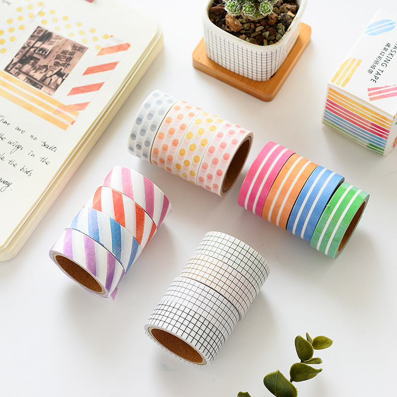 4 Pcs/lot Japanese Washi Masking Tape Set Grid Stripe Dot Paper Masking Tapes Washi Tape DIY Scrapbooking Sticker