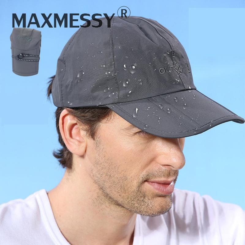 MAXMESSY Men Outdoor Sports Waterproof   Baseball     Cap   Women Anti-UV Ponytail Snapback Sun Hats Adjustable Folding Hat Gorras Y021